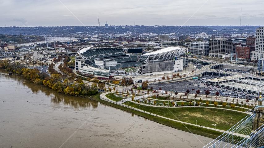 Paul Brown Stadium football field seen from Ohio River in Downtown Cincinnati, Ohio Aerial Stock Photos | DXP001_000458