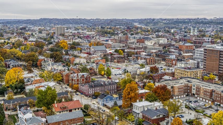 Brick buildings in downtown, Covington, Kentucky Aerial Stock Photos | DXP001_000479