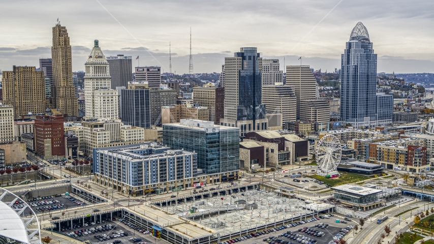 Apartment and office buildings, and the city skyline, Downtown Cincinnati, Ohio Aerial Stock Photos DXP001_000480 | Axiom Images