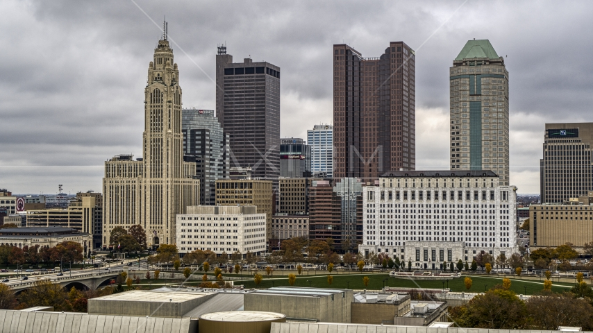 The city's skyline seen from the science museum, Downtown Columbus, Ohio Aerial Stock Photos DXP001_000488 | Axiom Images
