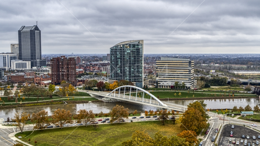 Condo complex and office building by bridge spanning the river in Columbus, Ohio Aerial Stock Photos | DXP001_000498