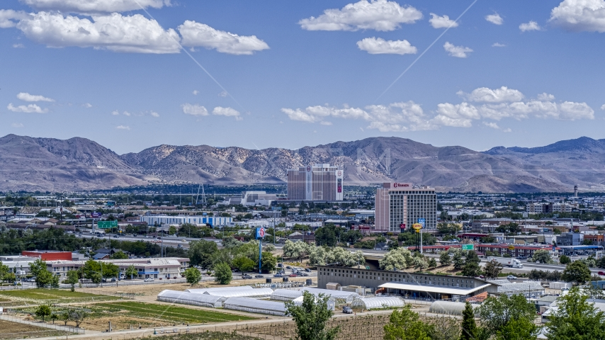 A view of the Grand Sierra and Ramada hotels in Reno, Nevada Aerial Stock Photos | DXP001_004_0002