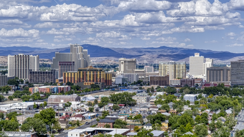 A view of a group of hotels and casino resorts in Reno, Nevada Aerial Stock Photos | DXP001_004_0009