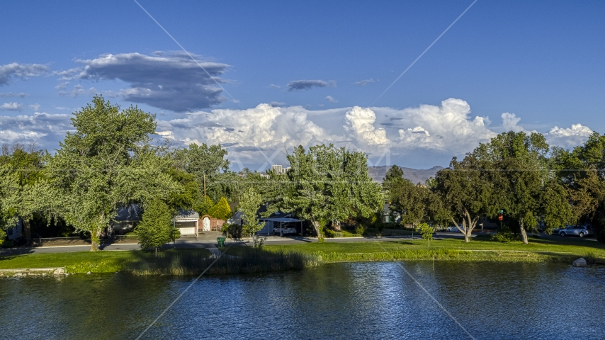 Lakefront homes and trees in Reno, Nevada Aerial Stock Photos | DXP001_005_0002