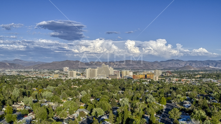 A wide view of the city skyline in Reno, Nevada Aerial Stock Photos | DXP001_005_0003