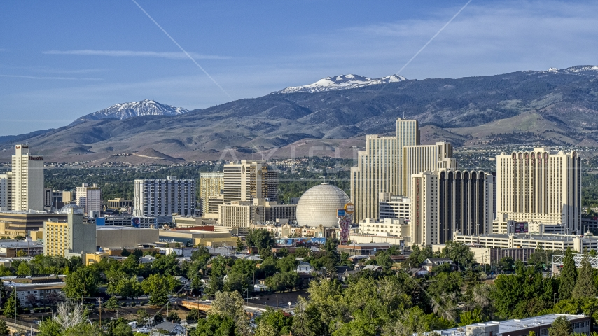 A group of casino resorts in Reno, Nevada Aerial Stock Photos | DXP001_006_0001