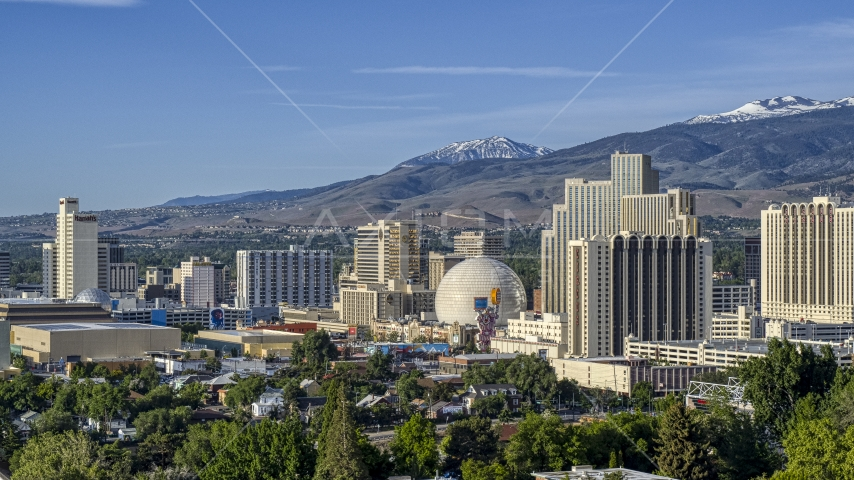Several casino resorts in Reno, Nevada Aerial Stock Photos | DXP001_006_0002