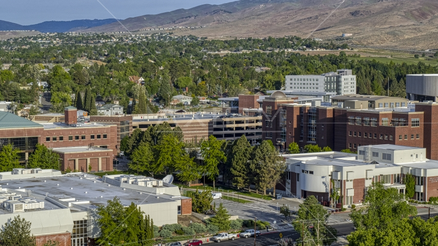 Campus buildings at the University of Nevada in Reno, Nevada Aerial Stock Photos | DXP001_006_0005