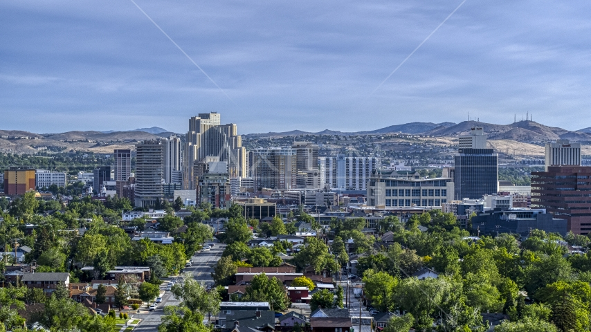 A view of office buildings, resort casinos and hotels in Reno, Nevada Aerial Stock Photos | DXP001_006_0009