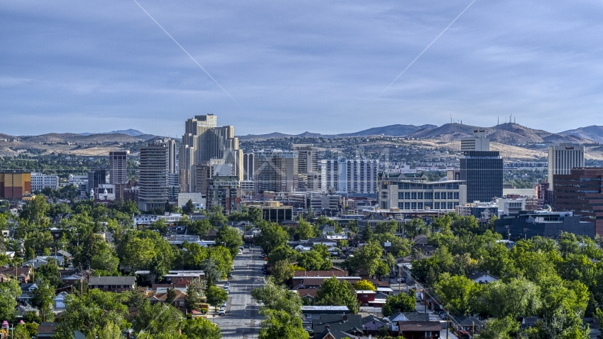 A view of office buildings, high-rise resort casinos and hotels in Reno, Nevada Aerial Stock Photos | DXP001_006_0010
