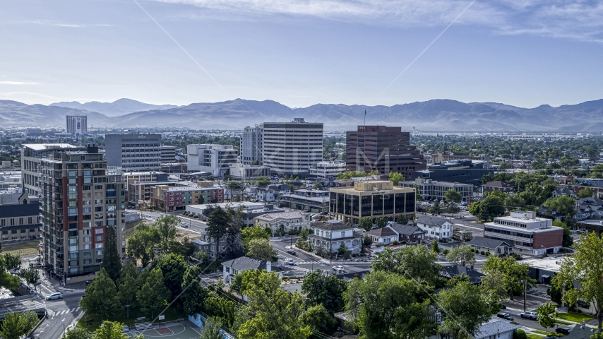 A view of the city's office buildings in Reno, Nevada Aerial Stock Photos | DXP001_006_0018