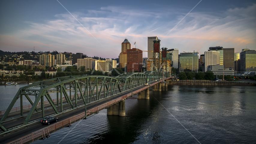 City skyline from the Hawthorne Bridge, Downtown Portland, Oregon Aerial Stock Photos | DXP001_010_0002