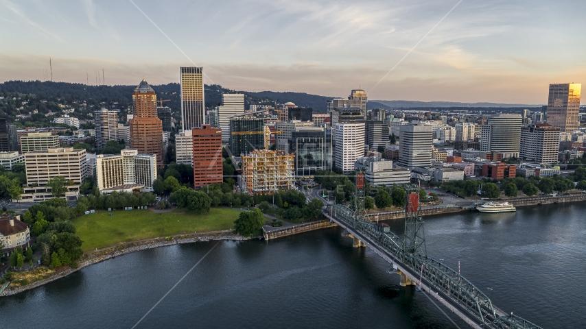 City skyline and Hawthorne Bridge over the Willamette River, Downtown Portland, Oregon Aerial Stock Photos | DXP001_010_0004