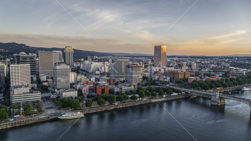 Office buildings and skyscrapers across the Willamette River, Downtown Portland, Oregon Aerial Stock Photos | DXP001_010_0005