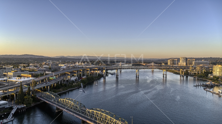 The Marquam Bridge seen from the Hawthorne Bridge over the Willamette River, Downtown Portland, Oregon Aerial Stock Photos | DXP001_010_0010