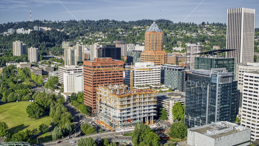 Office buildings and tall skyscrapers in Downtown Portland, Oregon Aerial Stock Photos | DXP001_011_0005
