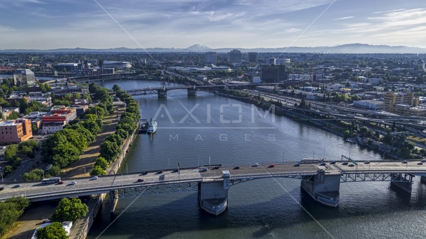 The Morrison Bridge and the Willamette River, Downtown Portland, Oregon Aerial Stock Photos | DXP001_011_0011