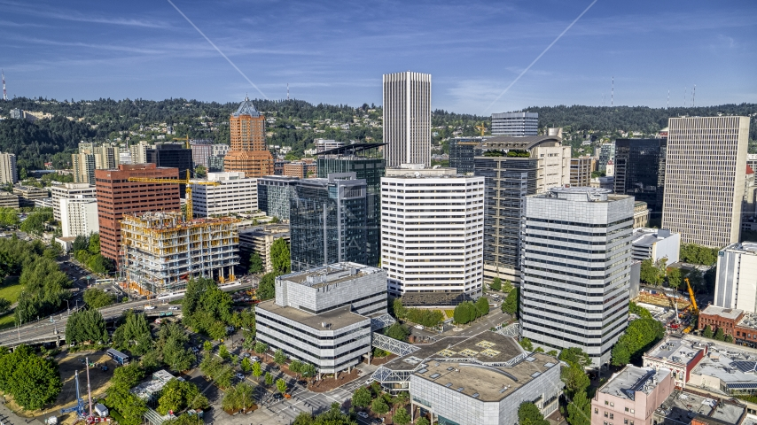 Office buildings and towering skyscrapers in Downtown Portland, Oregon Aerial Stock Photos | DXP001_011_0012