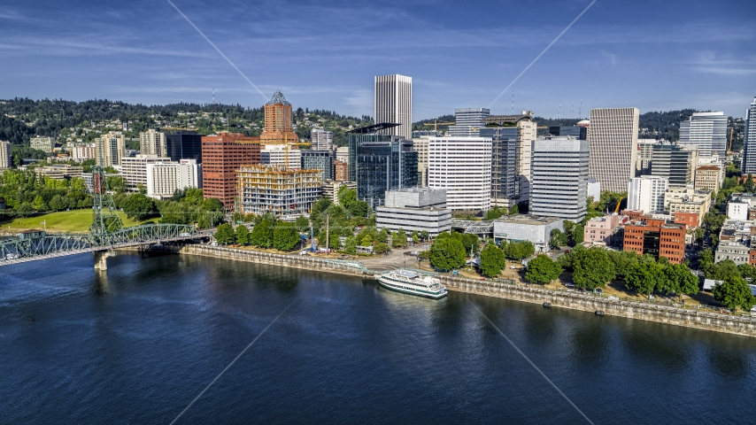 Waterfront office buildings by the river in Downtown Portland, Oregon Aerial Stock Photos | DXP001_011_0016