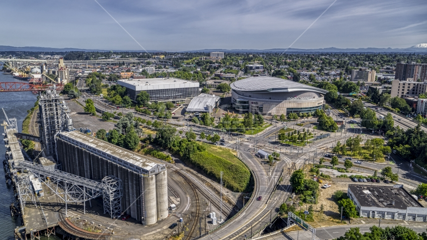 Moda Center and Veterans Memorial Coliseum in Northeast Portland, Oregon Aerial Stock Photo DXP001_012_0005 | Axiom Images