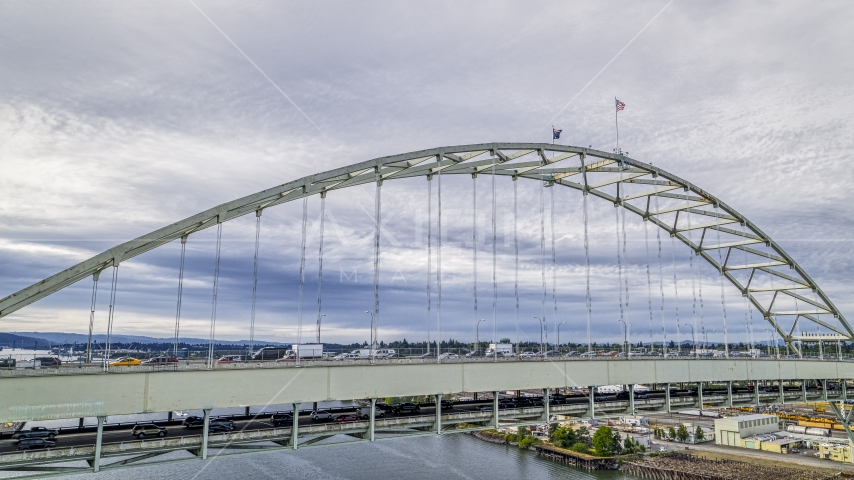 Close-up of the Fremont Bridge spanning the Willamette River in Downtown Portland, Oregon Aerial Stock Photos | DXP001_013_0002