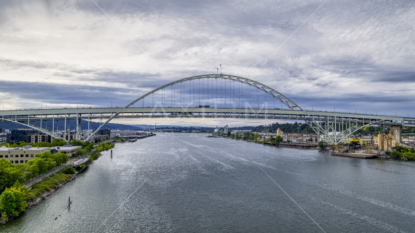 Fremont Bridge over the Willamette River in Downtown Portland, Oregon Aerial Stock Photos | DXP001_013_0004