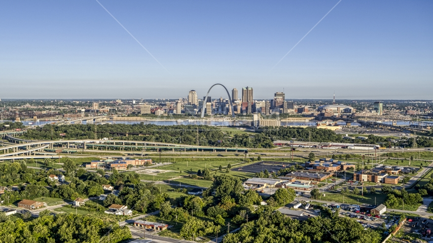 A wide view of skyline and Arch from interstate and park, Downtown St. Louis, Missouri Aerial Stock Photos | DXP001_022_0007
