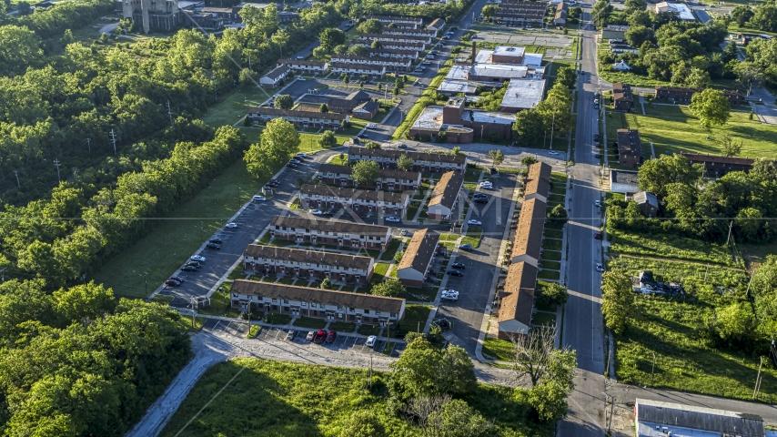 Low income apartment buildings, sunrise, East St Louis, Illinois Aerial Stock Photos   DXP001_022_0008