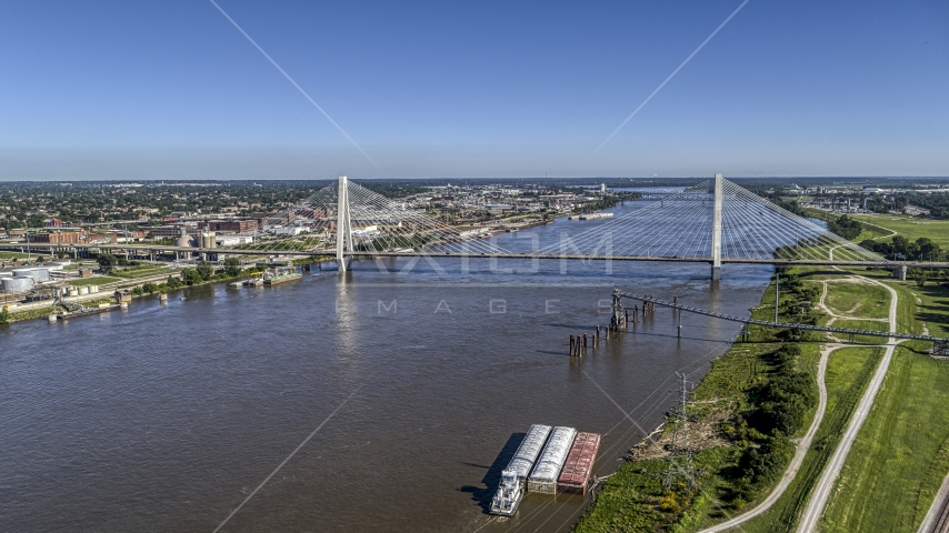 A cable-stayed bridge spanning a river, St. Louis, Missouri Aerial Stock Photos | DXP001_023_0005