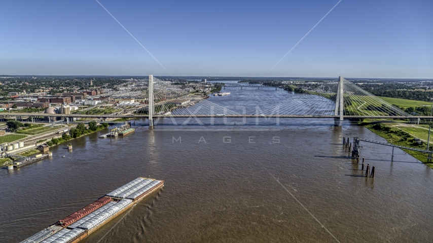 A cable-stayed bridge spanning the Mississippi River in St. Louis, Missouri Aerial Stock Photos | DXP001_023_0007