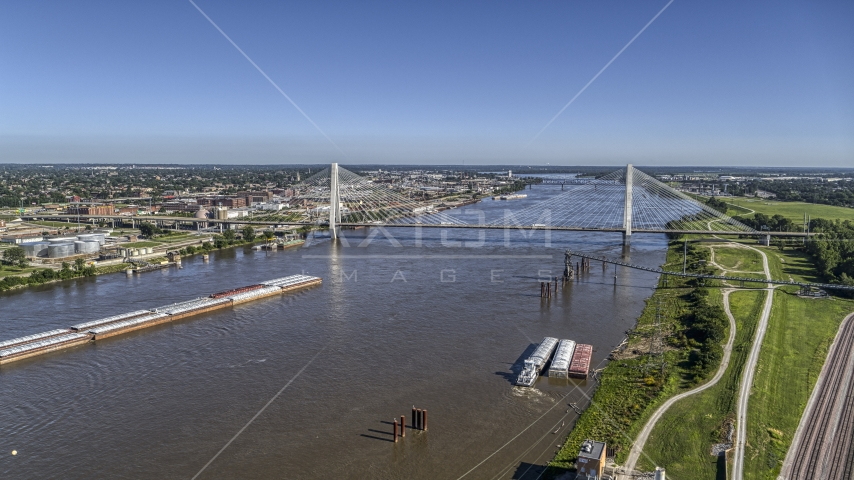 Barges on the river and a cable-stayed bridge, St. Louis, Missouri Aerial Stock Photos | DXP001_023_0008