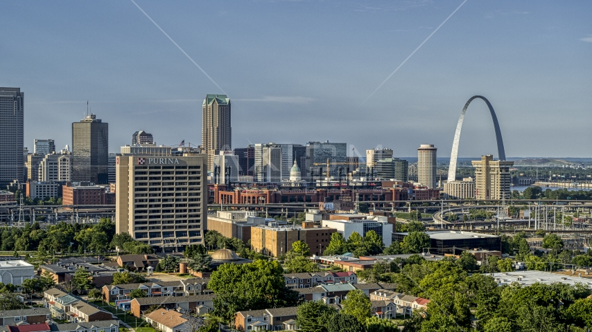 A view of office building, stadium and the famous Gateway Arch in Downtown St. Louis, Missouri Aerial Stock Photo DXP001_033_0002 | Axiom Images