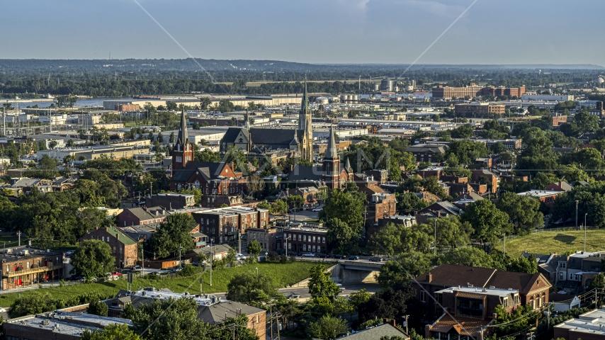 Three brick churches in St. Louis, Missouri Aerial Stock Photos | DXP001_033_0008