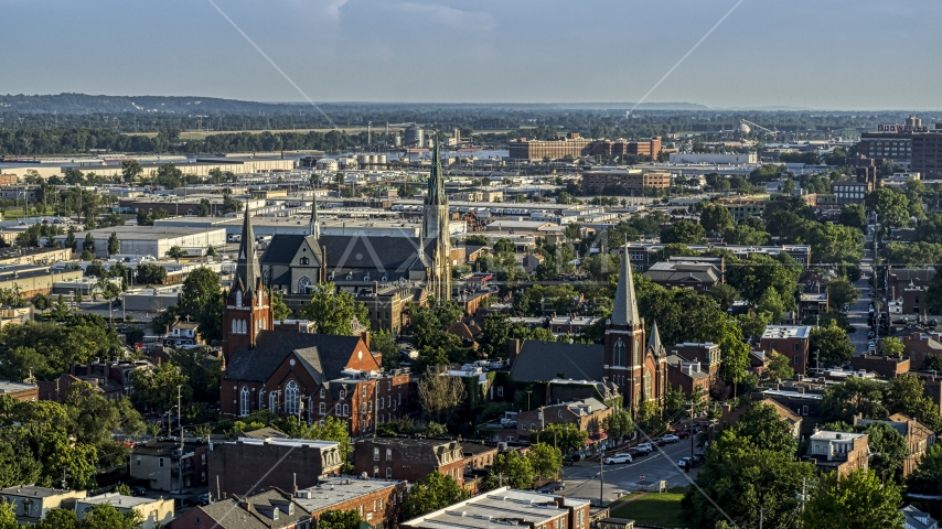 A view of three churches in St. Louis, Missouri Aerial Stock Photos | DXP001_033_0009