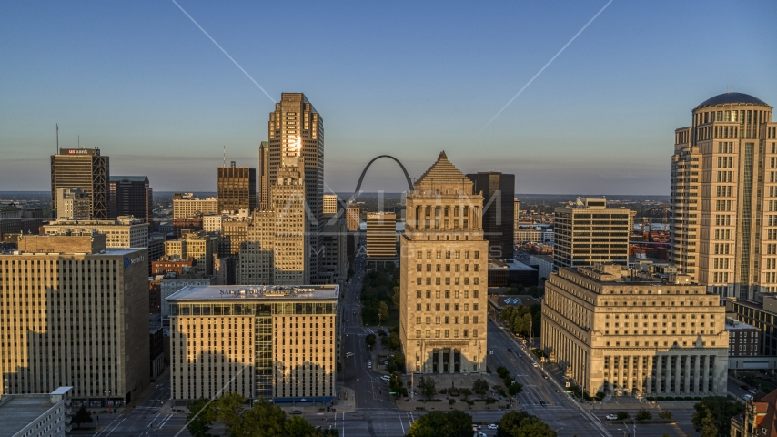 City courthouses and the famous Arch at sunset, Downtown St. Louis, Missouri Aerial Stock Photos | DXP001_035_0003