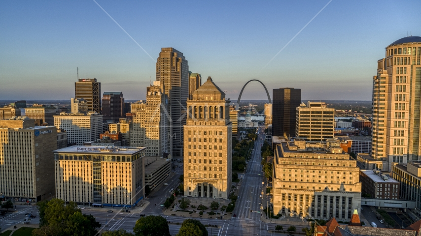 The famous Arch seen from the courthouses at sunset, Downtown St. Louis, Missouri Aerial Stock Photos | DXP001_035_0004
