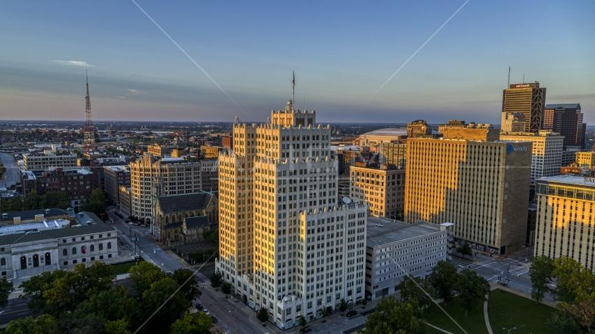 A high-rise apartment building at sunset, Downtown St. Louis, Missouri Aerial Stock Photos | DXP001_035_0007