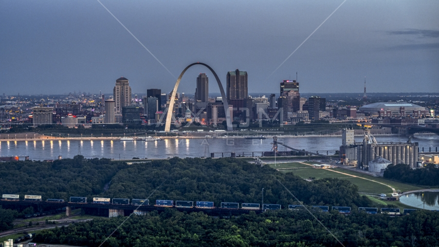 The Mississippi River, the Gateway Arch, and Downtown St. Louis, Missouri, twilight Aerial Stock Photos | DXP001_037_0004