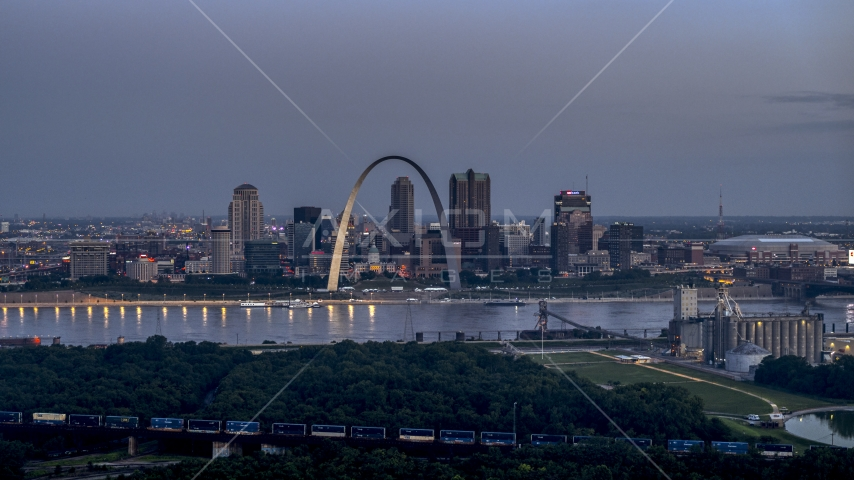Gateway Arch and Downtown St. Louis, Missouri, across the river at twilight Aerial Stock Photos | DXP001_037_0005