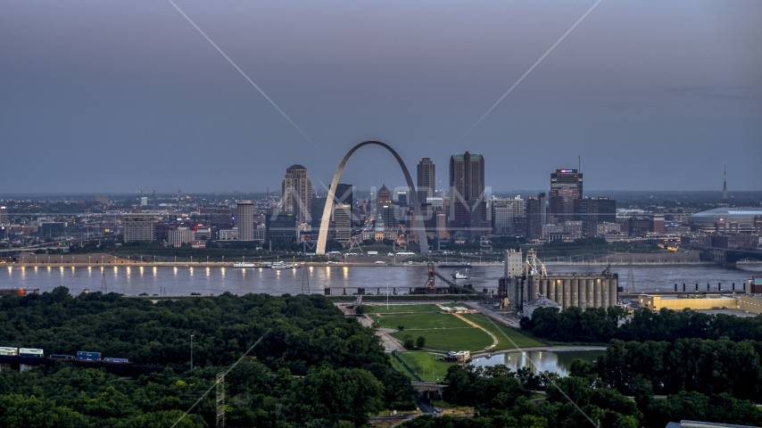 The Gateway Arch and the skyline of Downtown St. Louis, Missouri, at twilight Aerial Stock Photos | DXP001_037_0006