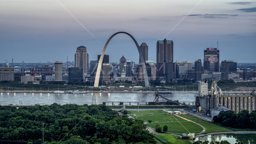 Gateway Arch and the skyline of Downtown St. Louis, Missouri, at twilight Aerial Stock Photos | DXP001_037_0015
