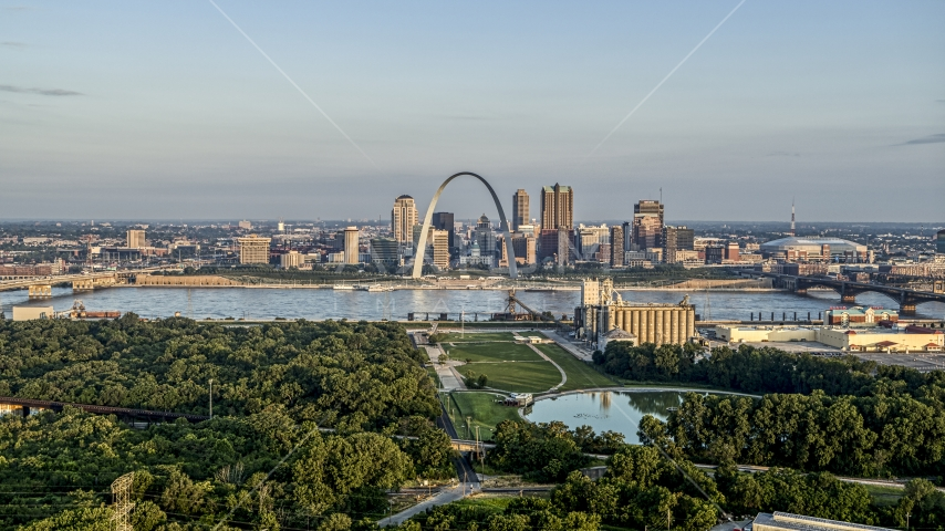 Park and the Gateway Arch in the morning, Downtown St. Louis, Missouri Aerial Stock Photos | DXP001_038_0009
