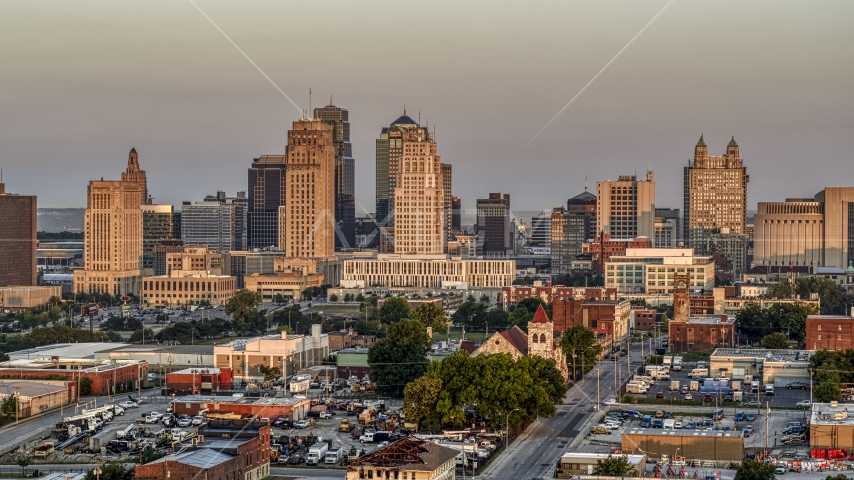 The city skyline at sunrise, Downtown Kansas City, Missouri Aerial Stock Photo DXP001_040_0001 | Axiom Images