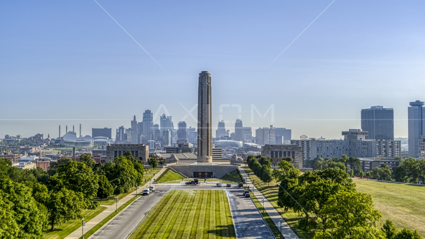 Green lawn and the WWI Museum and Memorial in Kansas City, Missouri Aerial Stock Photos | DXP001_043_0008