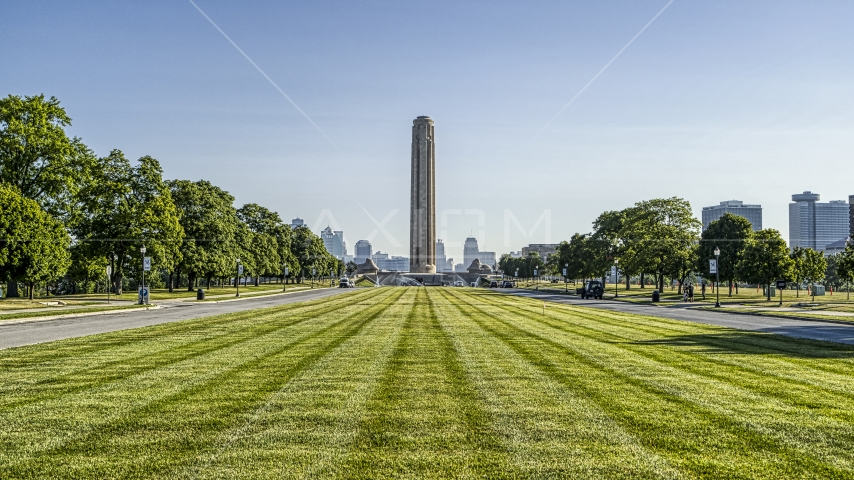 WWI Museum and Memorial seen from lush green lawn in Kansas City, Missouri Aerial Stock Photos | DXP001_043_0011
