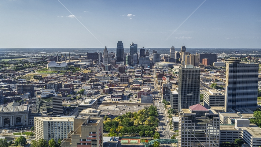 The skyline of Downtown Kansas City, Missouri seen from Crown Center Aerial Stock Photo DXP001_044_0008 | Axiom Images