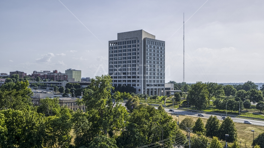 A government office building seen from trees in Kansas City, Missouri Aerial Stock Photos | DXP001_044_0010