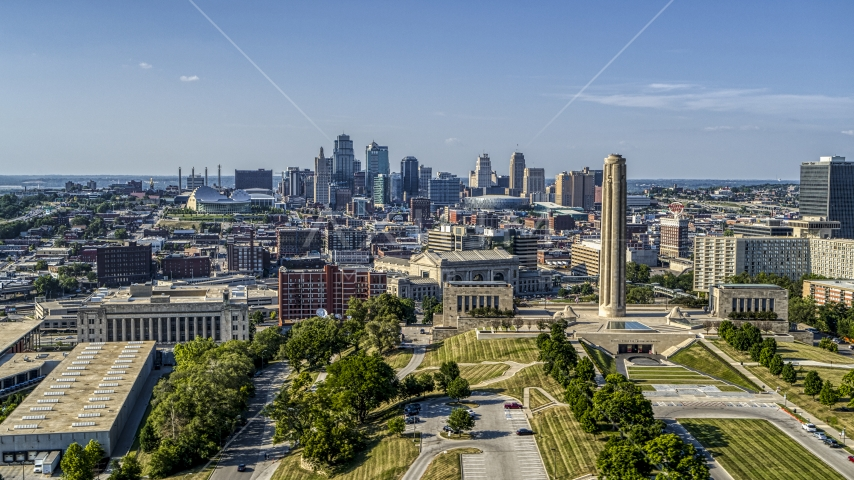 The city's downtown skyline and the WWI memorial in Kansas City, Missouri Aerial Stock Photos | DXP001_044_0012