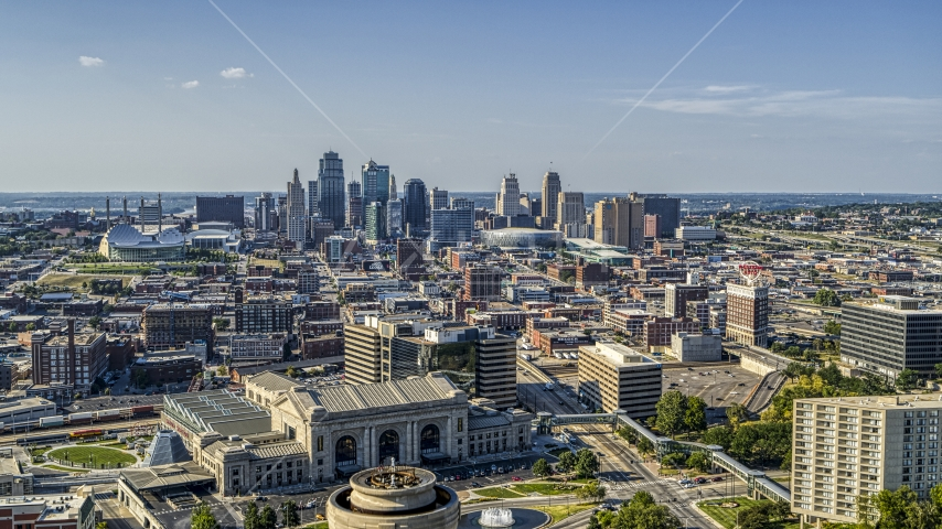 The Downtown Kansas City, Missouri skyline seen from historic train station Aerial Stock Photo DXP001_044_0017 | Axiom Images