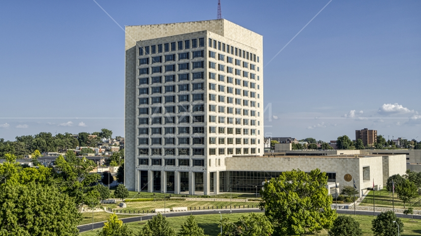 Federal Reserve government office building in Kansas City, Missouri Aerial Stock Photo DXP001_044_0019 | Axiom Images